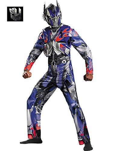 Disguise Men's Hasbro Transformers Age Of Extinction Movie Optimus Prime Deluxe Costume, Blue/Red, ()