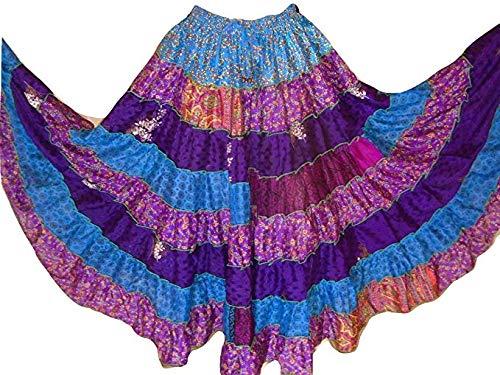Unique Taille 34-44 7 Yard Tribal Gypsy Maxi Tiered Jupe Belly Danse Jupes m/élange de Soie Banjara Convient S M L Pack DE 3
