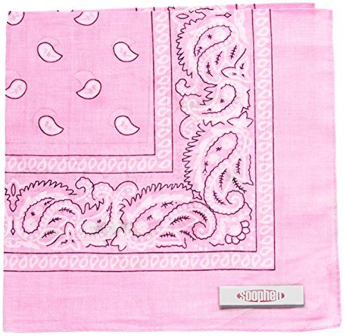 Soophen Paisley One Dozen Cowboy Bandanas (Pink 22 X 22 in , 12-Pack) (Light Blue And Brown Baby Shower Decorations)