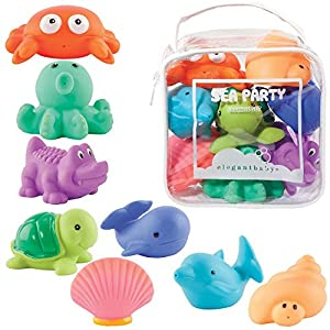 Elegant Baby Bath Time Fun Rubber Water Squirties Vinyl Zip Storage Bag, Sea Party, Set of 8