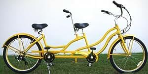"Bct-709i 26"" 2 Seater Tandem Bicycle Beach Cruiser Bike - Yellow"