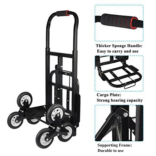 Stair Climber Hand Truck, Multifunctional Solid Rubber/Foam TIRES-440LBS Barrow Hand Truck Bracket Roll Cart Trolley Garden Tool Home Use (#3)