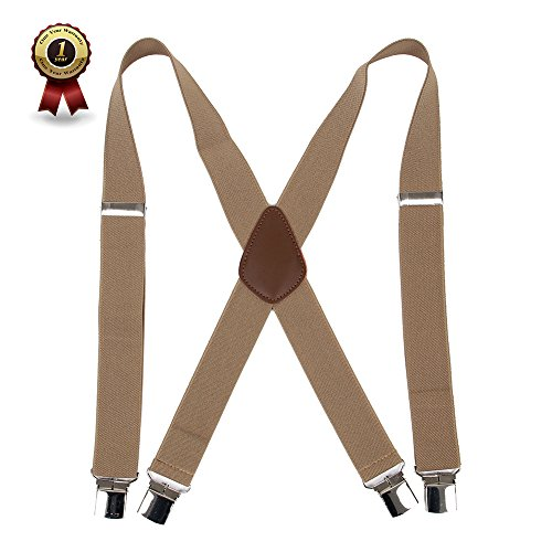 Men%E2%80%99+s+X+Back+Suspenders+with+4+Quality+Controlled+Clips+%26+1.4%E2%80%9D+Wide+Braces+%26+Heavy+Duty+%28Khaki%29