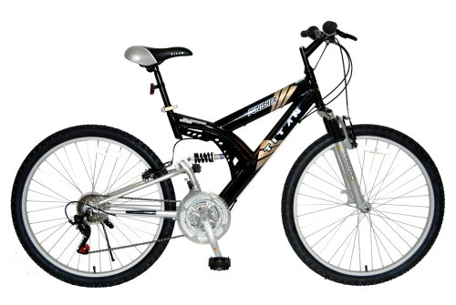 TITAN Punisher Dual-Suspension All-Terrain Men's Mountain Bike, 21-Speed, Silver/Black
