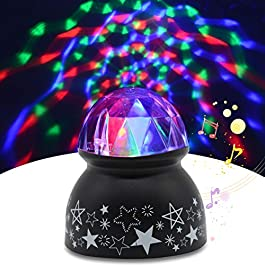 Sound Activated Party Lights, Yohuton Dj Lighting, RBG Disco Ball, Strobe Lamp Stage Par Light for Home Room Dance…
