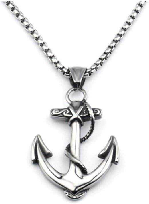 Accesorios Punk Cruz del Acero Inoxidable de la Vendimia Pendiente Cruzado de la Marina de Guerra del Collar de Cadena de la joyería Masculina Regalo (Metal Color : Silver)
