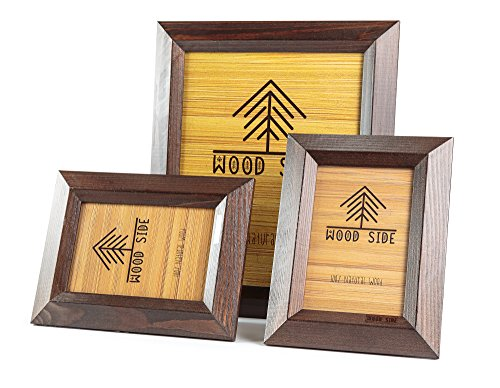 8x10 Wooden Picture Frames Brown - Pack of Two 4x6 inch and one 8x10 Rustic Picture Frame Made of Solid Wood High Definition Glass for Table Top Display and Wall mounting Photo Frame Walnut ()