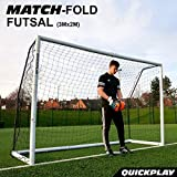 QuickPlay PRO Match-Fold Portable Soccer Goal Range with Carry Bag [Single Goal] Quick Setup Folding Soccer Goal for Clubs, Coaches & The Best Home Soccer Goal on The Market (3x2 Foot Futsal)
