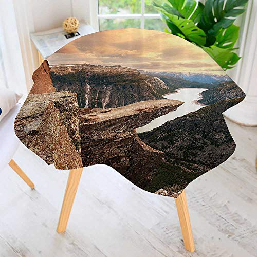 Philiphome Easy-Care Cloth Tablecloth Round- Nothern Mountains Cany Landscape with Calm River in Norway ic Nature Tops Great for Buffet Table, Parties, Holiday Dinner & More 63