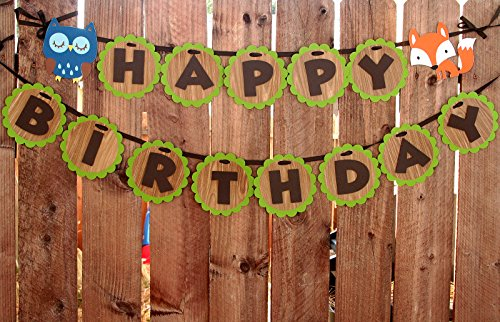 Woodland Creatures Birthday Banner Forest Friends Birthday Party