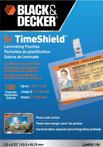 Black + Decker TimeShield Thermal Laminating Pouches, ID Badge with Clips, 5 mil - 100 Pack of Horizontal Badges - Id Badge Laminating