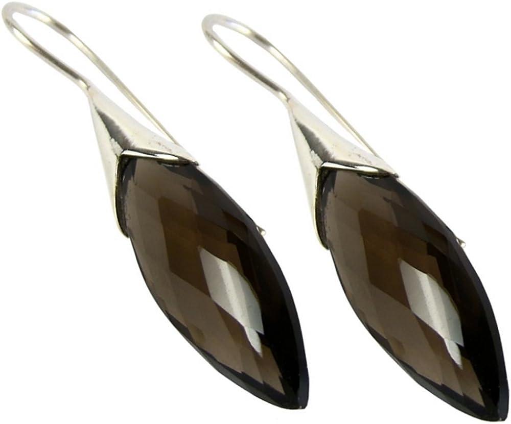 Unique pendientes para la mujer cuarzo ahumado plata de ley 925 joyeria de calidad