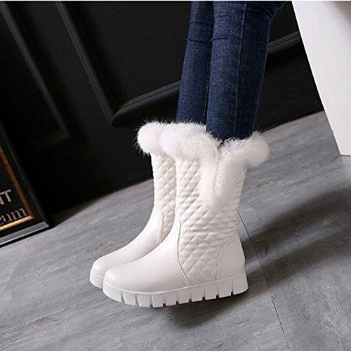 Summerwhisper Womens Anti Skid Faux Fur Plaid Round Toe Fleece Lined Platform Slip on Flats Mid Calf Snow Boots White uz68B
