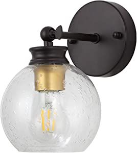 Liylan Wall Sconce Lighting,Farmhouse Vintage Bathroom Vanity Light Oil Rubbed Bronze, Industrial Rustic Wall Mounted Lamp with Seeded Glass