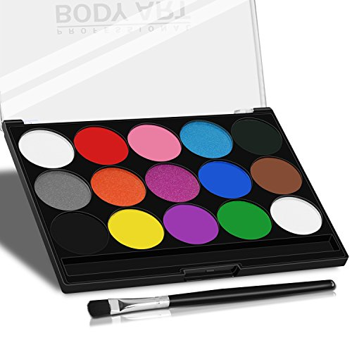 Water Based Body Paint Set Xpassion Hypoallergenic Safe & Non-Toxic Easy to Painting and Washing,15Colors Face Paint Kit for Adults and Children School Supplies with 1 Artist Paint -