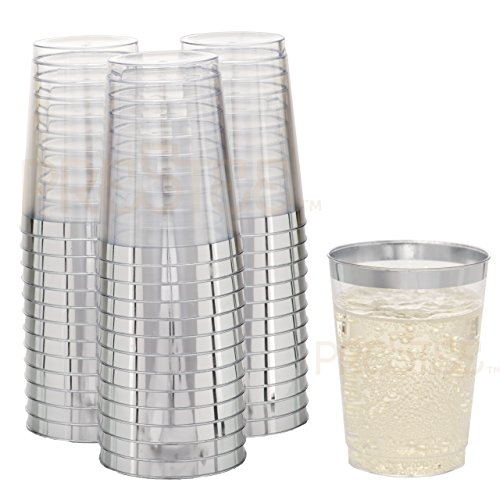 (DRINKET Silver Plastic Cups 10 oz Clear Plastic Cups/Tumblers Fancy Plastic Wedding Cups With Silver Rim 50 Ct Disposable For Party Holiday and Occasions SUPER VALUE PACK)