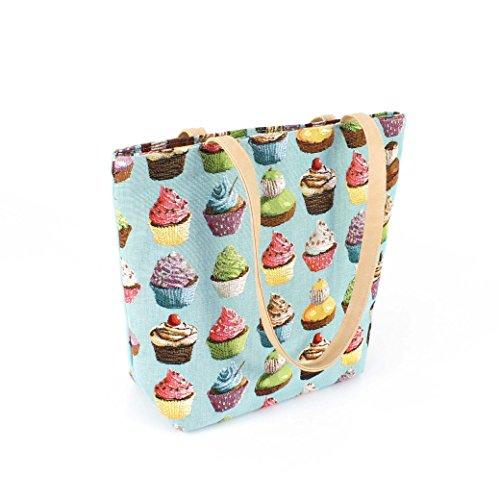 Gobelin Schultertasche / Shopper Tasche, CUPCAKES, blau, 35 x 29 x 7 cm - Handarbeit, MADE IN GERMANY - Umhängetasche / Damen Handtasche - faminova