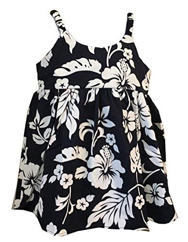 Alohawears Clothing Company Girl's Classic Hibiscus Cruise Luau Hawaiian Bungee Dress (6, Navy)