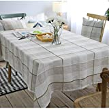 "NOMSOCR Tablecloth Cotton Linen Dust-Proof & Spillproof Table Cover for Kitchen Dinning Tabletop Linen Decor, Machine Washable (Grey, 55.1""x70.8"")"