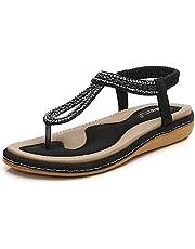 7bb07877d Meeshine Women s Bohemia Flip Flops Summer Beach T-Strap Flat Sandals  Comfort Walking Shoes