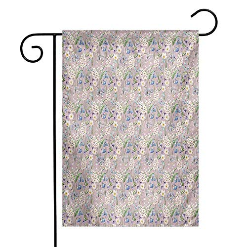 (Mannwarehouse Spring Garden Flag Summer Field Farm Flowers Blooms Daisies Leaves Lilac Tulips Art Print Premium Material W12 x L18 Lilac Blue and White)