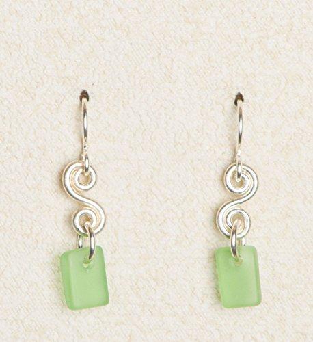 (Sea Glass Curve Earrings, with Lime Glass)