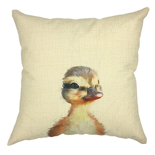 YOUR SMILE Cute Duck Throw Pillow Case Decorative Cushion Covers Cotton Linen Blend 18x18 Inches (Duckling) (Duck Pillow)
