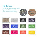 Ink Pad Stamps, Ubegood Stamp Pad DIY 12 Colors Crafts Ink Pads for Kids Rubber Stamp Scrapbooking Card Making Beautiful Water-Soluble Colors-Pack of 12