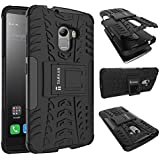 TARKAN Dazzle Hard Armor Hybrid Rubber Bumper Flip Stand Rugged Back Case Cover For Lenovo K4 Note / X3 Lite (Black)