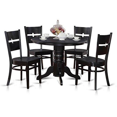 Black Dining Nook (East West Furniture SHRO5-BLK-W 5-Piece Kitchen Nook Dining Table Set, Black Finish)