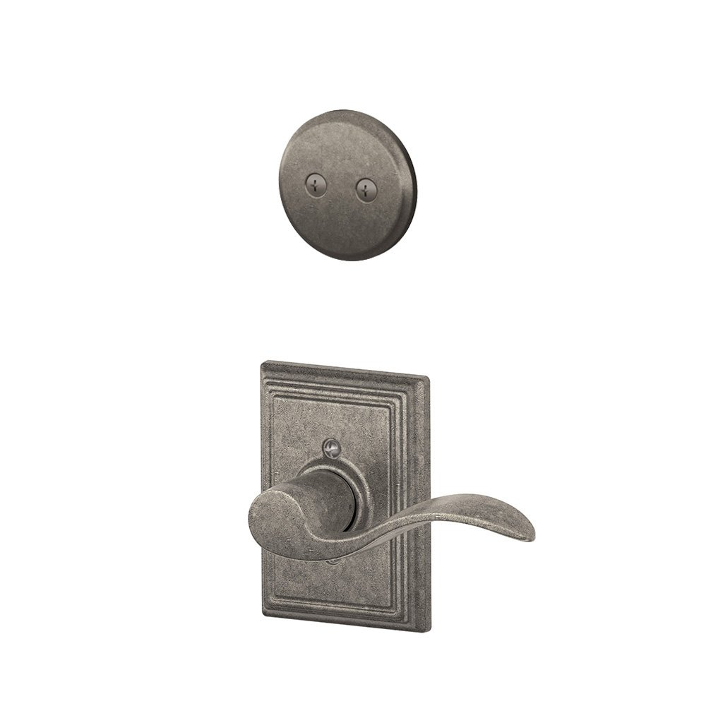 Distressed Nickel Schlage Lock Company F94ACC621ADDLH Accent Lever Left Handed Dummy Interior Pack with Deadbol