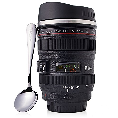 Coffee Mug - Camera Lens Thermos - 13oz Cup - Stainless Steel Insulated