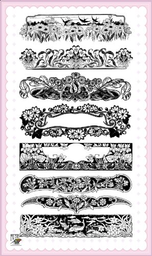 - Art Deco Flowers Laces Borders Frames // Clear stamps pack (4