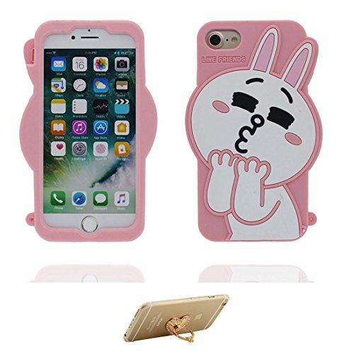 """iPhone 7 Plus Coque, Housse Étui pour iPhone 7 Plus, Cover TPU Material Flexible iPhone 7 Plus Case (5.5""""), 3D rose lapin Résistant aux rayures et ring Support de téléphone"""