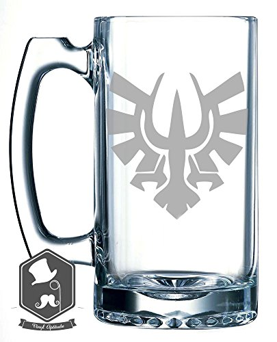 Zelda Skyloft Crest Logo Video Game Inspired 25 OZ Hand-made Etched Beer Mug Glass Stein