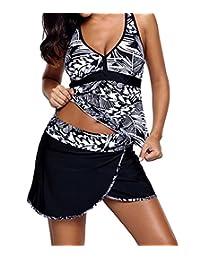 EnlaChic Women Print Tankini Swimsuit Two Piece Swimwear with Skirted Bottom
