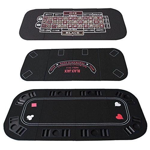IDS Poker Casino Texas Hold'em Table Top For 3 in 1 (Poker/Blackjack/Roulette) Folding Black Felt Carrying Bag by IDS Home