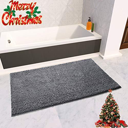 Vdomus Soft Microfiber Shag Bath Rug, Extra Absorbent and Comfortable, Anti-Slip,Machine-Washable Large Bathroom Mat (Grey, 47 X 26)