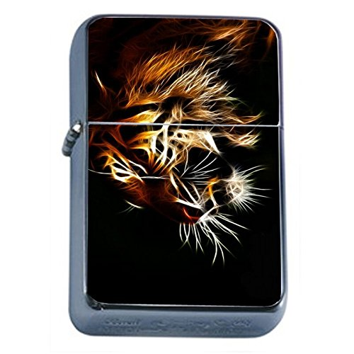 (Abstract Neon Tiger Flip Top Oil Lighter Em1 Smoking Cigarette Silver Case Included)
