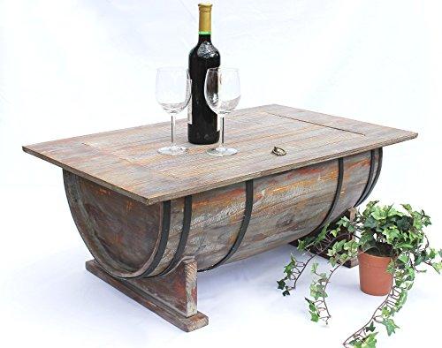 Couchtisch Weinfass 5084 Tisch aus Holz Weinregal 80cm Beistelltisch Weinbar Bar
