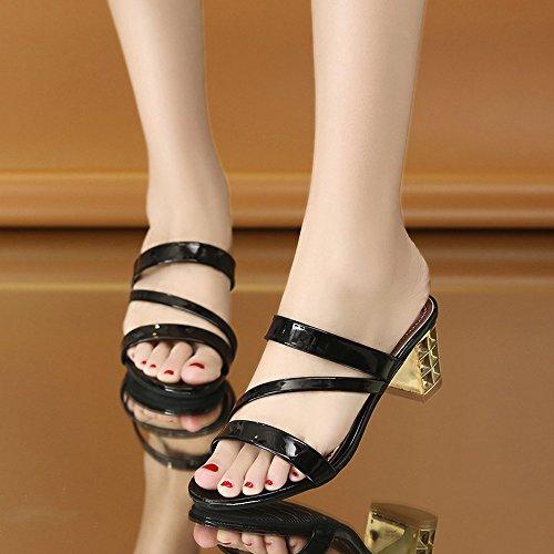 BUIMIN Zapatillas De Tacón Bajos Mujer Color Brillante Negro/Dorado/Plateado Simple Bonitas Fácil de Ponerse y Quitarse Talla 35/36/37/38/39/40 (EU: 38, Negro)