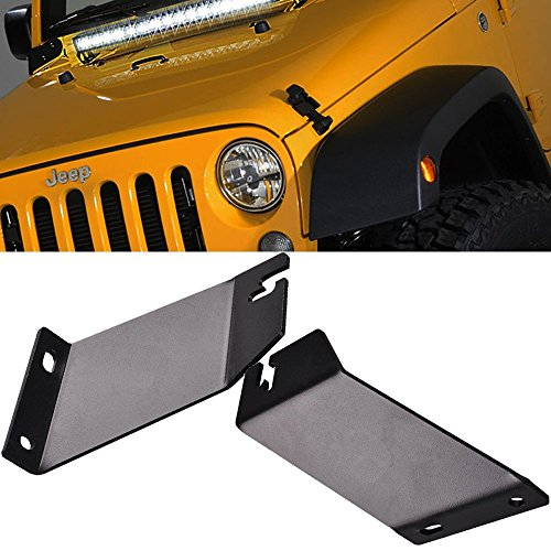 Engine Frame Brackets (QuakeWorld 20-22 Inch Single Row/Dual Row LED Work Light Bar Windshield Front Frame Engine TOP Hood Mounting Brackets Front Hood Hinge Mount Brackets For 2007-2016 Jeep Wrangler JK)