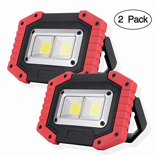 Lamp Halogen Rechargeable - OTYTY COB 30W 1500LM LED Work Light 2 Pack, Rechargeable Portable Waterproof LED Flood Lights for Outdoor Camping Hiking Emergency Car Repairing and Job Site Lighting (W840 Red)