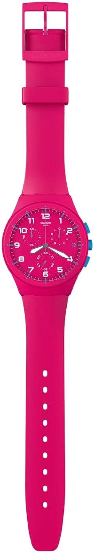 Swatch SUSR401 - Reloj cronógrafo de Cuarzo Unisex, Correa de Silicona Color Rosa