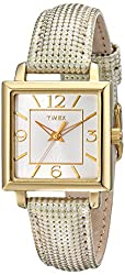 Timex Women's T2P379 Elevated Classics Gold-Tone Square Watch with Metallic Leather Band