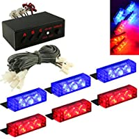 CLKjdz Emergency Strobe Lights ,6X3 LED 12V Red&Blue Car Truck Police Vehicle Dash Deck Grille Strobe Warning Lights