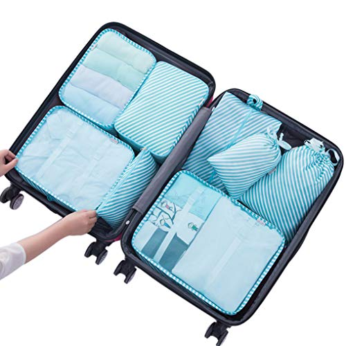 Belsmi 8 Set Packing Cubes - Luggage Organizer For Travel Nylon Compression Pouches Waterproof Mesh Compression Travel Luggage Packing Organizer With Shoes Bag (Blue Stripe)