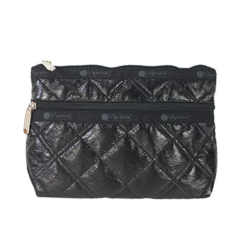 - LeSportsac Cosmetic Clutch Zip Bag, Black Crinkle Quilted