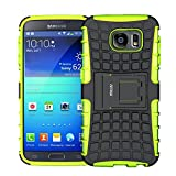 Case for Samsung Galaxy S6 ,Fetrim Rugged Dual Layer Shockproof TPU Case Protective Cover for Samsung Galaxy S6 with Built-in Kickstand (Green)