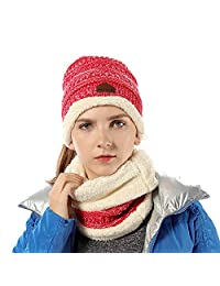 FLY HAWK Women Girl Hat Scarf Set Knit High Ponytail Beanie Warm Liner Skull Cap